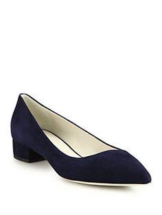 Giorgio Armani - Asymmetrical Suede Pointe-Toe Flats Suede Pumps, Giorgio Armani, Kitten Heels, Flats, Toe, Gift Ideas, Fashion, Loafers & Slip Ons, Moda