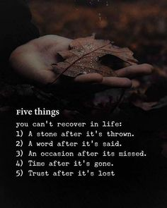 Positive Quotes : QUOTATION – Image : Quotes Of the day – Description Five things you cant recover in life. Sharing is Power – Don't forget to share this quote ! Best Positive Quotes, Short Inspirational Quotes, Meaningful Quotes, Motivational Quotes, Inspiring Quotes, Quotes About New Year, Year Quotes, Daily Quotes, True Quotes