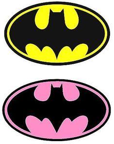 Batman (Yellow) / Batgirl (Pink) Iron On Transfer For Light Fabric, X Batman Party, Batgirl Party, Batman Birthday, Superhero Birthday Party, Superhero Cake, Superhero Logos, Boy Birthday, Birthday Parties, Batman Girl