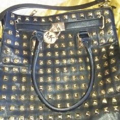 Michael  Kors Black Leather Studded shoulder bag Slightly used authentic Mickael Kors Black Leather with gold studds MICHAEL Michael Kors Bags Shoulder Bags