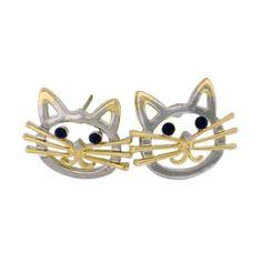 Russian Blue cat stud earrings gold plated Ceramic earrings Gray cat earrings Grey cat earrings gold Porcelain jewelry Kitty stud earrings