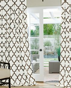 Contemporary Geometric imperial trellis design Custom Drapery from DrapeStyle in cotton and poly fabrics.