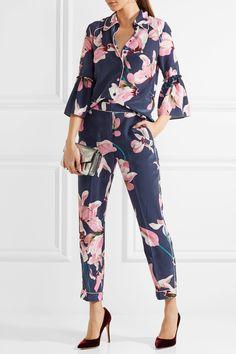 86d3a64e0f Erdem - Giulia cropped floral-print slim-leg pants