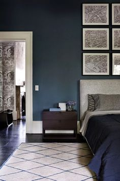 A masculine bedroom is a place where a lifestyle emerges. We've have picked some amazing masculine bedroom design ideas for you. Blue Bedroom Decor, Bedroom Paint Colors, Home Bedroom, Indigo Bedroom, Master Bedroom, Dulux Paint Colours Blue, Wall Colors, Bedroom Furniture, Indigo Walls