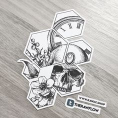 Dotwork still life with flowers, clock and skull, framed in hexagons - for ladies ☠ May look damn hot on thigh or real badass on upper arm, but this design easily fits on any bodyparts. Full size PDF and JPG download: RAW AF shop