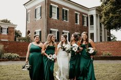 How gorgeous is this green bridal party! We are in love with this beautiful shade of green for a springtime wedding! Satin bridesmaid dresses create a modern bridal party you'll love! | #greenbridesmaiddresses #bridesmaiddresses #emeraldgreenbridesmaiddresses | Style F20099, F20098, DS270091, F20095 in Juniper, WG3880 | Shop these styles and more at davidsbridal.com! | Photo by: @glenaigilbertphoto7 Emerald Green Bridesmaid Dresses, Satin Bridesmaid Dresses, Bridesmaids, Wedding Dresses, Rustic Wedding Inspiration, Davids Bridal, Green Wedding, Shades Of Green, Bridal Style
