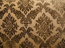 "56"" Wide Mocha  Shelby 100 Damask velvet Upholstery Drapery fabric by the yard"
