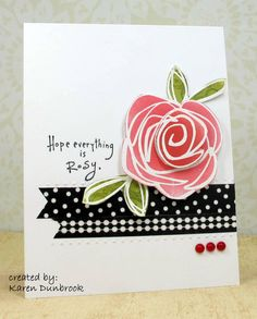 clean and simple card ... beautiful pink rose embossed in white and then colored ... bands of black ...