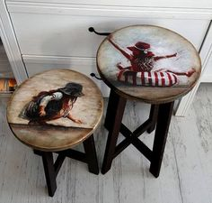 Decoupage Furniture, Hand Painted Furniture, Repurposed Furniture, Furniture Projects, Furniture Making, Furniture Makeover, Diy Furniture, Painted Stools, Wood Transfer