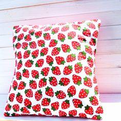 Cotton Strawberry Print Cushion on Etsy, £13.50