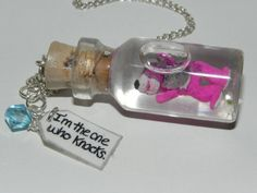 Breaking Bad, Teddy Bear with Eyeball, Heisenberg-Walter White, Blue Crystal Meth Charm and Quote Bottle Necklace
