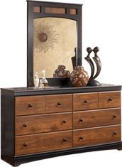 Ashley Aimwell Dresser with Mirror Dresser With Mirror, Baby Girls, Two By Two, Cherry, Bedroom Decor, Deep, Warm, Rustic