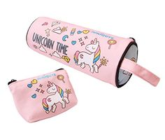 Cute Unicorn Time Pencil Case and Coin Purse, Rainbow Unicorn Pen Bag Stationary Pouch, Super Funny 3D Printing Cosmetic Make Up Bags for Girls