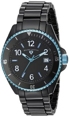 Swiss Legend Men's 11528-BKBLBLA Luminar Black Dial Black Ceramic Watch. Swiss quartz movement. Sapphitek crystal; black high tech ceramic case and bracelet. Date window at 3:00. Black dial with metallic light blue and white hands, hour markers and Arabic numerals; luminous; unidirectional metallic light blue ion-plated stainless steel bezel with black top ring; screw-down metallic light blue ion-plated stainless steel crown. Water resistant to 330 feet (100 M): suitable for snorkeling…