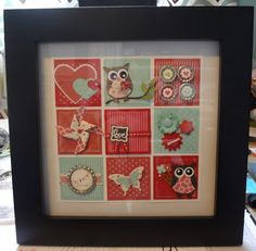 Look at Beth's amazing framed Spring Collage! I see Soda Pop Tops, Owl & Butterfly punches, Pinwheel die, & more.