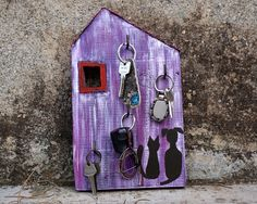 Key Holder Wall Key Holder Key Rack Purple House Key by irineART