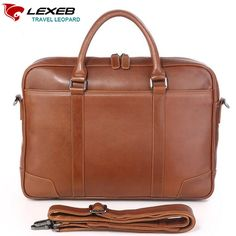 "103.99$  Watch here  - ""Vintage Leather Man Business Bag LEXEB High Quality Briefcase Brand Laptop Bags 15.6""""  Men's Handbags Brown Luxury Designer"""