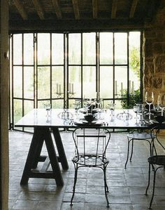 iron and glass folding doors