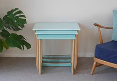 Mid Century Nest of 3 Wooden Side Tables, Upcycled & Painted Aqua Ombre
