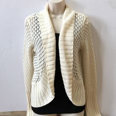 NWT Daisy Fuentes Ivory Cardigan Ivory colored open stitch cardigan. Ribbed trim. Could be used for a cold summer night. New with tags. No trades. Generous discount with bundle. Daisy Fuentes Sweaters Cardigans