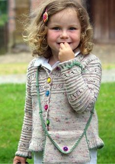 Free Knitting Pattern for Trekking Child's Jacket and Purse - Cardigan knit wi. Free Knitting Pattern for Trekking Child's Jacket and Purse - Cardigan knit with a lace and garter stripe design on yoke. Free Childrens Knitting Patterns, Knitting For Kids, Free Knitting, Knit Patterns, Knitting Ideas, Pull Bebe, Baby Cardigan Knitting Pattern, Girls Sweaters, Toddler Sweater