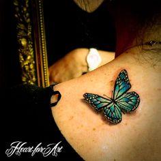 realistic tattoo art | 3D Realistic Butterfly Tattoo - Heart for Art - Tattoo Shop ...