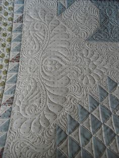 Quilting Detail on blue and white quilt