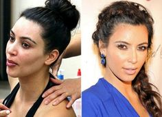 Kim Kardashian Before and After Makeup Look