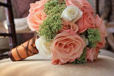 Beautiful coral and sage bouquet. Love this vintage look.