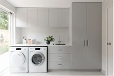 Modern Laundry Rooms, Laundry Room Layouts, Laundry Room Remodel, Narrow Laundry Rooms, Small Laundry Space, White Laundry Rooms, Laundry Decor, Laundry Room Design, Laundry In Bathroom
