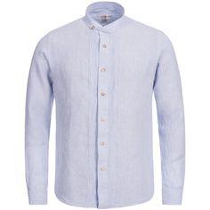 Trachtenhemd Slim Fit in Hellblau von Almsach | Leinenhemd