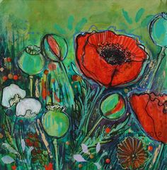 Wild Poppies- Original mixed media painting by Maria Pace-Wynters