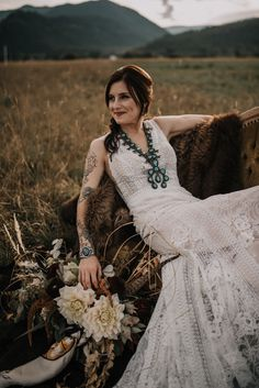 It was hot and bright, but so so beautiful. Brides With Tattoos, Montana Wedding, Dress Attire, Boho, Wedding Pics, Rustic Wedding, Wedding Hairstyles, Tattoo Bride, Wedding Turquoise