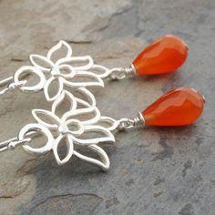 Carnelian  Sterling Silver Earrings - Lotus Blossom