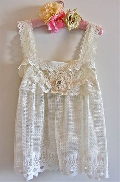 Victorian Antique Style Lacey Tunic Camisole Romantic White Shades OOAK  Altered Couture French Sugar Kitty Couture. $75.00, via Etsy.