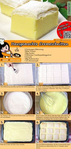 Taste homemade cream slices with delicious pudding cream! The home-made cream cut recipe video is very easy to find using the QR code :] cut recipes The post Homemade cream slices appeared first on Dessert Factory. Eclair Cake Recipes, Pudding Desserts, Cookie Recipes, Snack Recipes, Snacks, Cupcakes, Cut Recipe, Slice Recipe, Best Pancake Recipe