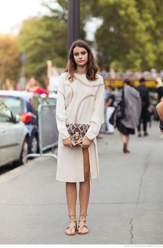 Beige dress, sandals, purse. #women fashion outfit clothing style apparel @roressclothes closet ideas