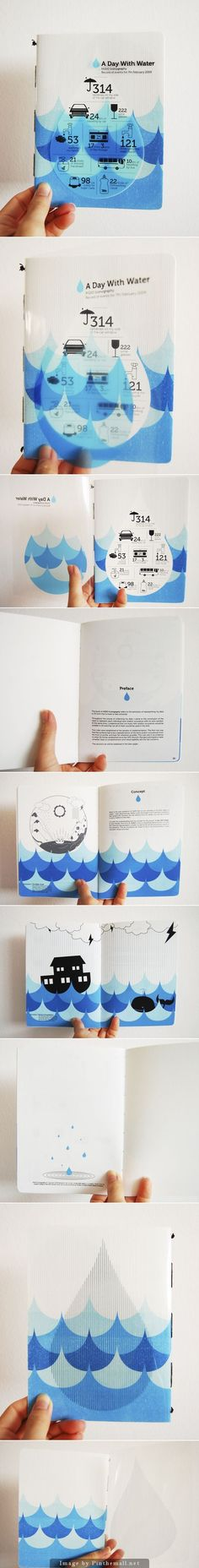 this book with the simple visual narrative idea. the book use blue drawing with the sea wave shape and water drop idea through the whole book. as image show we can see the water idea using in each page form. the text format with sort column placement on the empty white space to make the graphic and text balance. #infographics