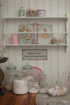 mix of shabby and farmhouse - love the jars and the egg basket