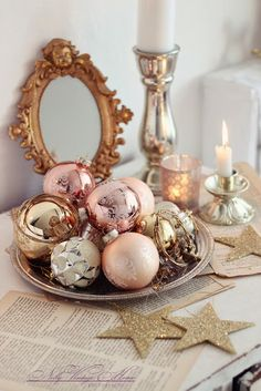 pastel colored vintage ornaments on a tray - so simple and elegant