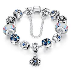 Presentski Blue Color Snake Chain Charm Bracelet with 925 Sterling Silver Glass Bead and Safety Chain For Women Teen Girls . Presentski Blue Lucky flowers Silver Plated Bracelet. -- Read review @ http://www.amazon.com/gp/product/B01CVYNBYY/?tag=splendidjewelry07-20&pbc=250716080513