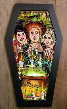 A monstrous illustration inspired by Hocus Pocus in a coffin-shaped frame. Each illustration is framed with a handmade one piece wood frame painted in matte black. The front panel is made from cl. Halloween Art, Holidays Halloween, Halloween Decorations, Halloween Table, Halloween Signs, Halloween Halloween, Vintage Halloween, Halloween Makeup, Halloween Costumes