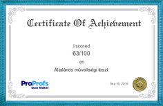 Általános műveltségi tesztI's Certificate