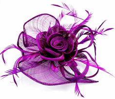 Purple Fascinators For Weddings - Wedding and Bridal Inspiration Wedding Fascinators, Wedding Hats, Purple Fascinator, Tea Party, Lavender, Weddings, Bridal, Lace, Flowers
