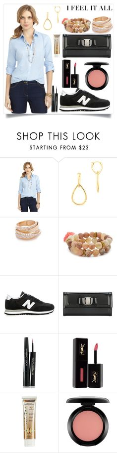 """""""Three-Quarter-Sleeve Dress Shirt"""" by camry-brynn ❤ liked on Polyvore featuring Brooks Brothers, Elizabeth and James, Shay, Lacey Ryan, New Balance, Salvatore Ferragamo, Dolce&Gabbana, Yves Saint Laurent, Xen-Tan and MAC Cosmetics"""