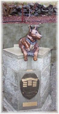 Washington Police K9 Memorial   Washington State Law Enforcement Academy  Burien, WA  Zach Adam, 17, sculpted  a clay statue of this police dog which was cast into bronze.  January 31, 2003 - copslang.com