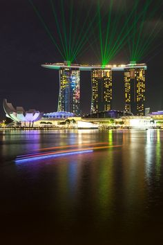 Marina Bay Sands, Singapore. The light show is spectacular.