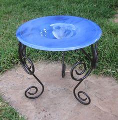 "Stained Glass Garden Bird and Butterfly Feeder, in Blue Swirl, 7"" www.ebay.com/usr/MattsGlassact"