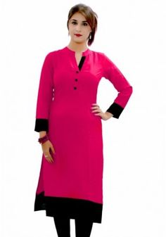 Exclusive Pink Black Full Sleeve 3 Button Solid Kurti