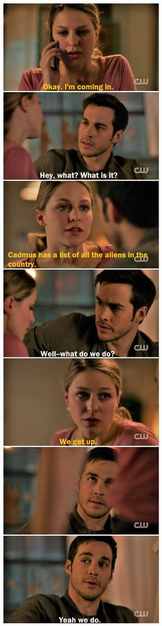 "The kissing and cuddling was cute, but this is why I <3 Kara and Mon-El together so much. Teamwork is my favorite, and Mon-El matches Kara in a way no one else can (strength, stubbornness, heart, etc.). I'm a sucker for fighting-side-by-side couples, and these two just keep getting better and better. |TV Shows||CW||#Supergirl edit||Season 2||2x14||""Homecoming""